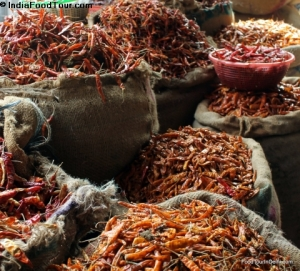 Sack of chillies in spice market tour
