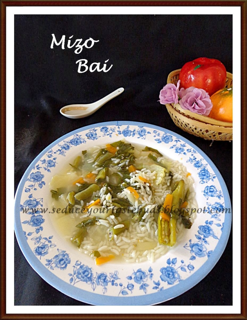 Bai is made of steamed vegetables along with pork, spinach and bamboo shoot, and spiced with local herbs. It's mostly prepared with pork sauce (made out of pork and mustard). Bai is one of the most easily available dishes in  Aizawl.