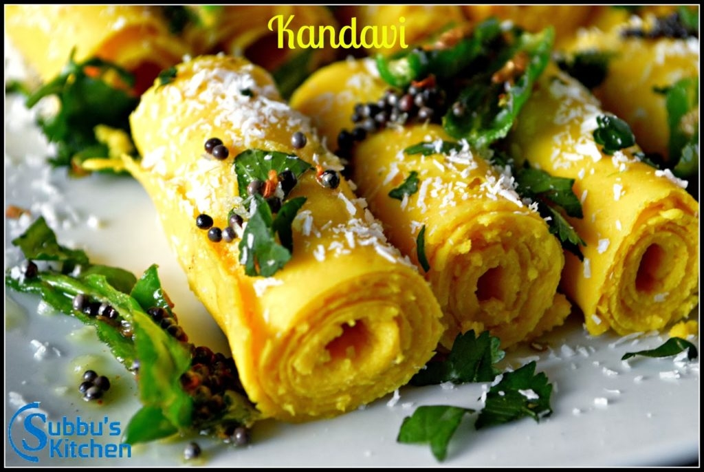 Khandvi consists of yellowish, tightly rolled bite-sized pieces and is primarily made of gram flour and yogurt. Khandvi is readily available across India and is commonly eaten as an appetizer or snack and is served with garlic chutney.