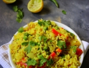 Poha is a popular breakfast eaten all across the country and originated in the state of Madhya Pradesh.Super light and super healthy dish,Poha is made with the flattened rice along with the well-cooked onions, tomatoes and is best savoured with green chillies, curry leaves and a bit of lemon.