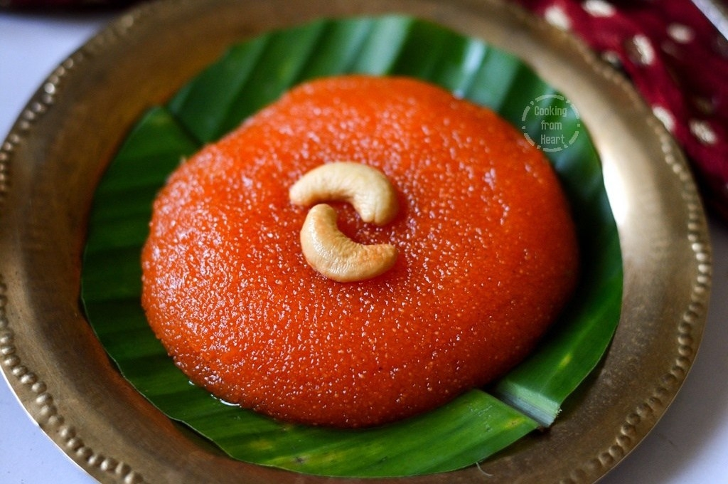 Rava Kesari or Kesari Bath consists semolina, sugar, ghee, water, and milk. The dish can also be prepared with pineapple, banana, mango, coconut or rice. It assumes the  texture of a crumbled cake.