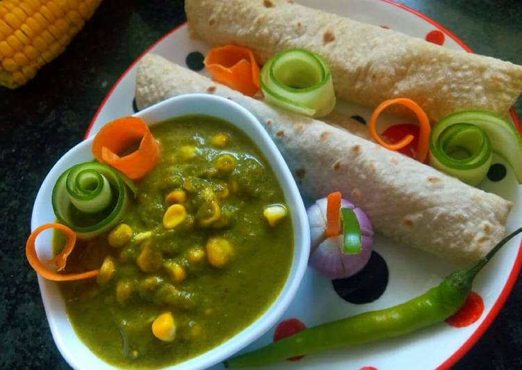Indian Food Recipe: Palak Corn Sabzi